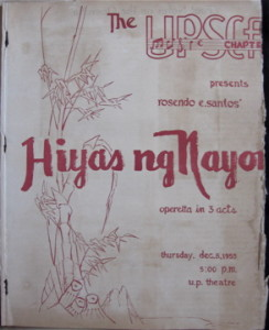 """Hiyas ng Nayon"" operetta in 3 acts, produced by UPSCF on Dec. 8, 1955"