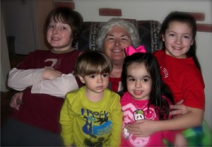 Harriet & grandchildren:  from left to right: Ross, Christian, Mattea, Ariana