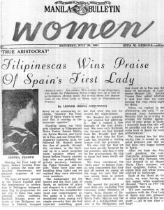 Señora Carmen Franco: Leonor Orosa Goquingco herself pens this article recounting the memorable meeting with Spain's First Lady.