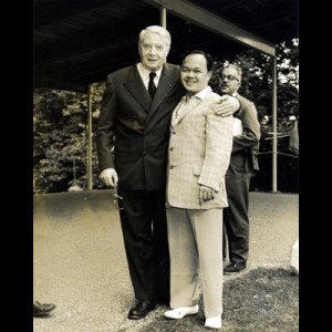 Rosendo poses with his conducting teacher, Charles Munch, at Tanglewood; July 4, 1956