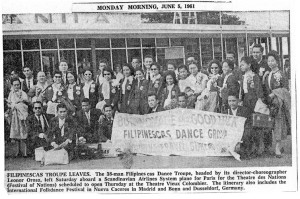 Articles appeared in many major Philippine newspapers marking the departure of the legendary dance troupe.  Rosendo marked himself with a black checkmark in the left side of the picture.