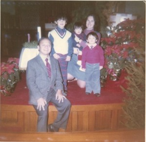 The Santos Family  in 1973.  Harriet is holding toddler Jason.