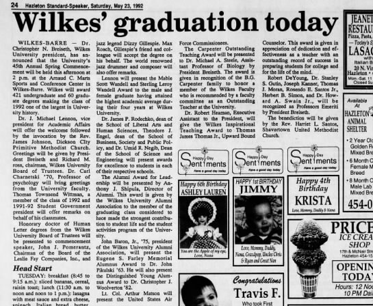 Wilkes University 1992 Commencement featured honors for Rosendo, Harriet, and son Nathan.